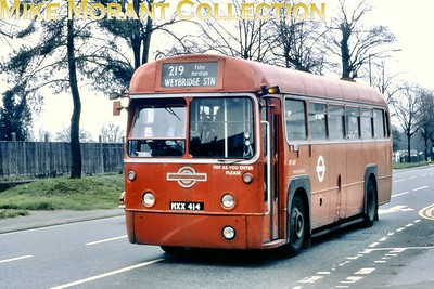 Central area, red liveried RF 437  - MXX 414 -  on route 219 from Kingston to Weybridge at an undisclosed location en route and taken during the period between September 1978 and March 1979 when allocated to Kingston garage and until withdrawal from service. [Mike Morant collection]