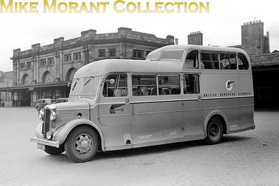 BEA  - British European Airways -  Commer Commando, 1½ decker airport transfer bus with registration HUV 135 which, no surprise here, was a Middlesex code. Apparently 315 of these coaches, based on the Commando Q4, were bought by the Ministry of Supply and split amongst the RAF, BOAC and BEA and  - to my immense surprise -  the location is Aberdeen Joint station. [Mike Morant collection]