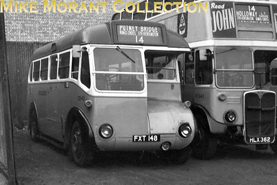 London Transport bus CR42, registration FXT 148, with route 14 on the indicator's display at Putney Bridge garage. [Mike Morant collection]