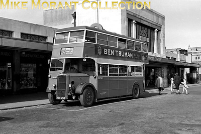 London Transport Duple bodied lowbridge Daimler bus no. D129, registration no. HGC 256, on route 127 outside Morden tube station. D129 was one of the four 'extras' of this type built in 1945 and all were allocated to AL Meron garage specifically for use on the 127 route. They had relatively short working lives and all were withdrawn in December 1952 followed by export to the South Western Omnibus Co. in Ceylon in the following month. [Mike Morant collection]