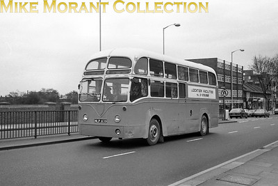 Former BEA airport bus with licence plate NLP 639 and in the ownership of Location Facilities at Chiswick on 18/4/77. [Mike Morant collection]