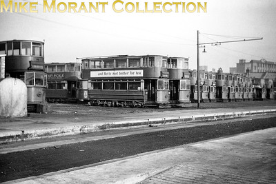 London trams LT tramcars await their collective fate at the famous Penhall Road scrapyard in Charlton. [Mike Morant collection]