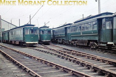 Former GCR tram nos 11, 15 and Gateshead car no. 33 at Pyewipe depot on the Grimsby & Immingham Light Railway photographed by yours truly in the first week of September 1960. [Original slide by Mike Morant]