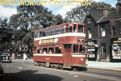 Ex-LT HR2 tram no. 277 in Chapeltown, Leeds. This slide was bought as an original but I have a strong suspicion that it might be a very good copy. [Mike Morant collection]