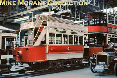 The first British electric tramcar, Blackpool no. 1,  in the Museum of British Transport, Clapham on 13/7/63. [Slide taken by Mke Morant]