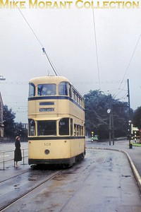 Sheffield Corporation tram no. 508 at Beauchief on a dull and wet Sunday moring in September 1960. [Original slide by Mike Morant]