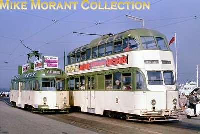 Blackpool tramcars nos. 726 and 636. [Original slide by Mike Morant]