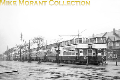An impressive double line of Birmingham trams at the Washwood Heath terminus. [Mike Morant collection]