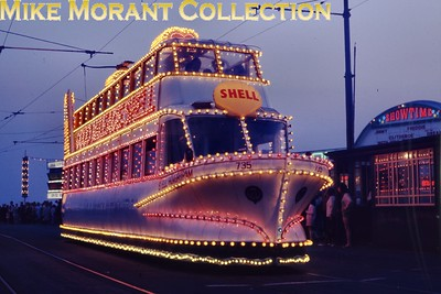 Blackpool tramcar no. 735 in its guise as the illuminated Hovertram. [Original slide by Mike Morant]