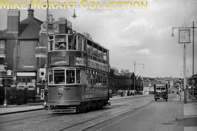 London Transport former LCC E/1 tramcar no. 1783 passes the Nag's Head public house in Wandsworth Road whilst operating route 28 from Clapham Junction to Victoria. This view, with Wandsworth Road station in the far background, was taken on 27/8/1950 but would become a part of LPTB's tramways history as route 28 was amongst those converted to bus operation in Stage 1 of Operation Tramaway on 30/9/1950. [A. A. Jackson / Mike Morant collection]