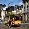 Glasgow Corporation Tramways 4-wheeled tram no. 64 is on route 30 to Blairdardie at St. George's Square in August 1959.<br> [Original slide by <i>Mike Morant</i>]