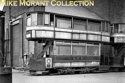 Withdrawn LCC 'C' class 4-wheel tram car no. 263 at Charlton works on 28/3/1931. [H. C. Casserley / Mike Morant collection]