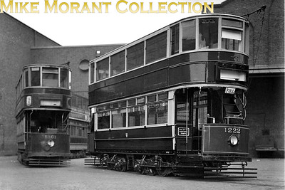Newly refurbished LCC type E/1 tram car no. 1222 at Charlton works on 28/3/1931. Note that the driver's weather protection has yet to be fitted. [H. C. Casserley / Mike Morant collection]
