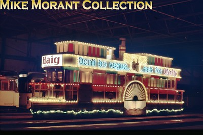The Blackpool Belle illumintaed tram made its first appearance in 1959 constructed on the frames and bogies of the last remaining 'toastrack tram, no. 163 dating from 1927, which had lain in storage at Fleetwood depot since 1953. [Original slide by Mike Morant]