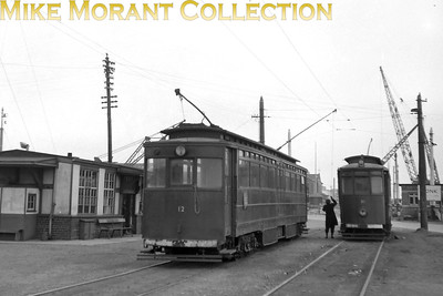 Former GCR car no. 12 and  Gateshead car no. 30 at Immingham Docks tram station on the Grimsby & Immingham Light Railway. [Mike Morant collection]