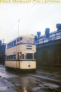 Sheffield Corporation tram no. 508 at Vulcan Road on a dull and wet Sunday moring in September 1960. [Original slide by Mike Morant]