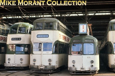 Blackpool tramcars nos. 713, 712 and 630 at Rigby Road depot. [Original slide by Mike Morant]