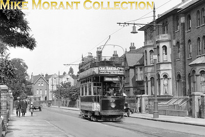 Tram no. 37 was a South Metropolitan  - SMET -   'M' class four wheeled open top car and is depicted here in Oakfield Road, Croydon, whilst operating on the Crystal Palace to Croydon service. [Mike Morant collection]