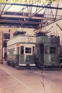 Blackpool works cars 3 & 4 inside Digby Road depot. [Original slide by Mike Morant]