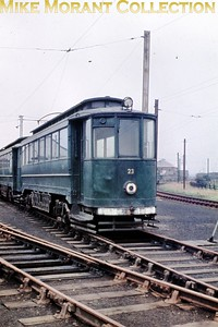 Former Gateshead tram no. 23 at Pyewipe depot on the Grimsby & Immingham Light Railway photographed by yours truly in the first week of September 1960. [Original slide by Mike Morant]