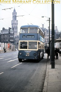 Bradford trolleybus no. 799 on route 36 was one of eight East Lancs bodied BUT9611T's cascaded from St Helens. [Mike Morant collection]