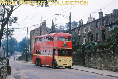Huddersfield trolleybus no. 628. Kodachrome processing date JUL67. [Mike Morant collection]