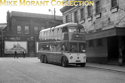 Huddersfield Corporation trolleybus Fleet no.: 600 Registration: FCX 800 Chassis: Sunbeam Body: Roe Entered service: 3/51 Withdrawn: 7/66 Location: Brook Street, standing outside the Empire Cinema. [Mike Morant collection]
