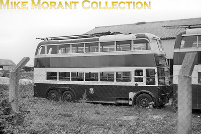 Cardiff Corporation trolleybus Fleet no.: 203  172 Location: Smith's Coaches at Whitley near Reading between 6/65 and 10/65. Registration: CKG 193 Chassis: AEC Body: Northern Counties Entered service: 3/42 Withdrawn: 12/62 [Mike Morant collection]