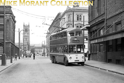 Huddersfield Corporation trolleybus Fleet no.: 600 Registration: FCX 800 Chassis: Sunbeam Body: Roe Entered service: 3/51 Withdrawn: 7/66 Location: Byram Street, Princess Cinema on the right and Huddersfield Parish Church of St Peters in the background. [Mike Morant collection]