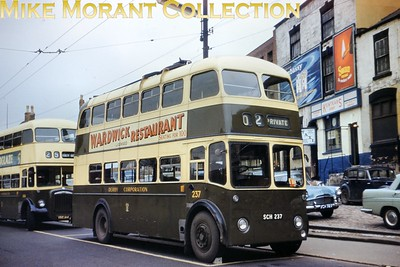 Derby Coirporation trolleybus Fleet no.: 237 Registration: SCH 237 Chassis: Sunbeam F4A Body: Roe Entered service: 3/1960 Withdrawn: 1967 A comfort break during driver training duties at Morledge St. April 1965. [Mike Morant collection]