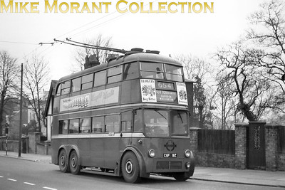 London Transport short wheelbase B1 type trolleybus no. 92 on route 654 for which they were a unique design. This view shows that the trolleybus is going from Crystal Palace to Sutton but I have no idea exactly where the shot was taken. [Mike Morant collection]