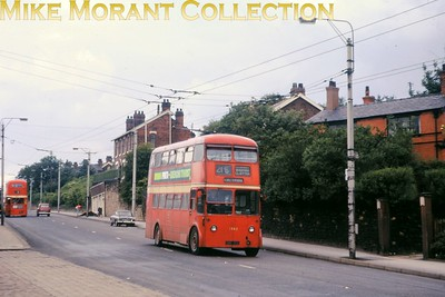 Manchester trolleybus no. 1362. Kodachrome processing date JUL66. [Mike Morant collection]