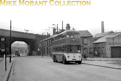 Huddersfield Corporation trolleybus Fleet no.: 600 Registration: FCX 800 Chassis: Sunbeam Body: Roe Entered service: 3/51 Withdrawn: 7/66 Location: A641 Northgate, south side of the viaduct.  A railway line to the Gasworks once ran across the road and down Beaumont Street, in front of the buildings on the right. [Mike Morant collection]