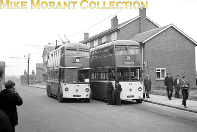 Huddersfield Corporation buses Fleet no.: 578 & 612 Registration: ECX 178 & GVH 812 Chassis: Sunbeam & BUT Body: Park Royal & East Lancs Entered service: 2/49 & 10/53 Withdrawn: 7/65 & 6/67 Location: Lindley, Lidget Street [Mike Morant collection]