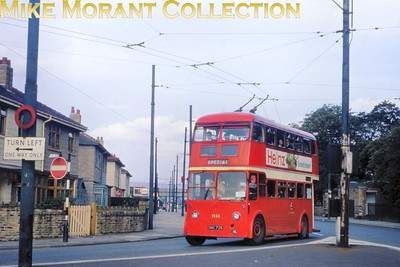Manchester trolleybus no. 1325. Kodachrome processing date SEP66. [Mike Morant collection]
