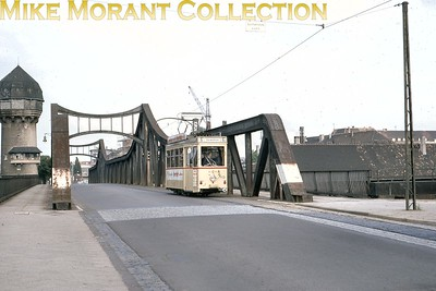 German tram. Metre gauge Darmstadt two axle car no. 13 photographed on 22/6/68. [Mike Morant collection]