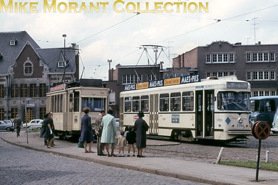 Belgian tram. Antwerp cars nos. 6350 (left) and 2094 on 25/5/69. [Mike Morant collection]