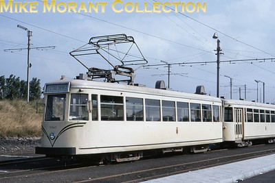 Belgian tram. Oostende bogie car no. 10043 and an unidentified trailer car on 7/9/69. [Mike Morant collection]