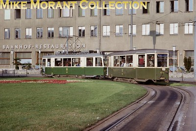 Austrian tram. Graz car no. 231 and trailer no. 421B photographed on 4/7/66. [Mike Morant collection]