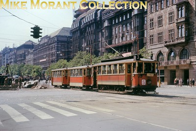 Czechoslovakian tram. Prague 4-wheeled car no. Hauling two trailer cars on 30/5/66. [Mike Morant collection]