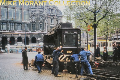 Antwerp ballast tram no. 8821 photographed apparently derailed on Koningin Astridplein during April 1966. It was  built in 1931 according to the note on the slide mount but more background information from viewers would be appreciated. [Mike Morant collection]