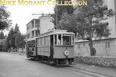 Yugoslavian   - but Croatian today -  Dubrovnik tram car no. 4 on service 2 Pile - Lapad UVALA photographed in the mid-1950's. This is one of the original cars dating from 1910 when the small 76cm gauge system began operations. It all came to an end on 20/3/1970. Car no. 7 is preserved in the Zagreb Technical Musuem. [Mike Morant collection]