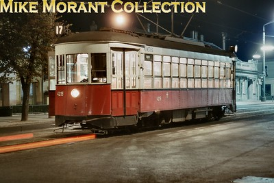 Austrian tram. Vienna former New York 'E' type bogie car no. 4215 photographed beautifully at night on 11/9/64. [Mike Morant collection]