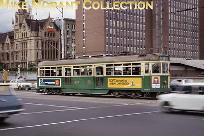 Australian tram.Melbourne & Metropolitan Tramways Board W6 class car no. 874 at Spencer St. Station on 7/9/70. [Mike Morant collection]