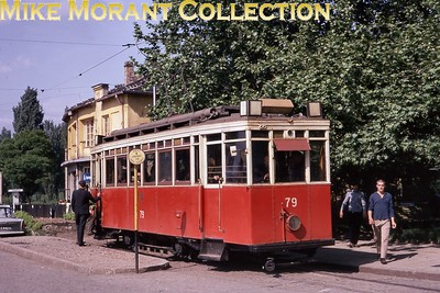 Bulgarian tram. Vintage metre gauge Sofia car no. 79 photographed on 26/5/70. [Mike Morant collection]