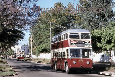 Johannesburg, South Africa, trolleybus dated 27/10/77 BUT 2nd series 1956 Fleet no. 665 Dunkeld route 2A [Mike Morant collection]
