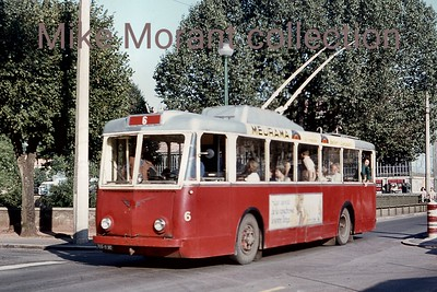 French trolleybus no. 6 in the city of Belfort in north eastern France. As the route indicator displays the the fleet number of the vehicle it suggests that there was just a single route. The system existed for a relatively short period, 4/7/1952 - 1/8/1972 with this slide being taken on 12/8/1970. [Mike Morant collection]