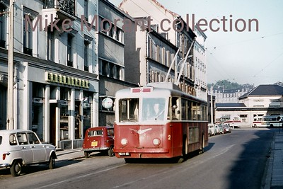 French trolleybus no. 2 in the city of Belfort in north eastern France. As the route indicator displays the the fleet number of the vehicle it suggests that there was just a single route. The system existed for a relatively short period, 4/7/1952 - 1/8/1972 with this slide being taken on 12/8/1970. [Mike Morant collection]