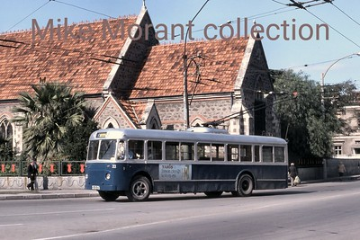 Turkish trolleybus. Izmir system fleet no. 33 photographed near Alsancak on 17/10/82 was one of 20 Fiat 2411F's built in 1957. The entire sytem was closed in 1992. [Mike Morant collection]