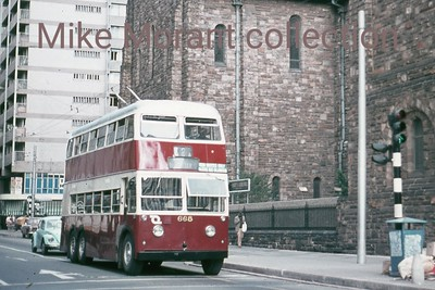 Johannesburg, South Africa, trolleybus dated 8/3/78 BUT 2nd series 1956 Fleet no. 668 Dunkeld route 2A [Mike Morant collection]